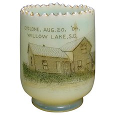 Vaseline Glass Toothpick Holder - Great Cyclone of 1904 - (Rare)