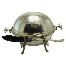 Silver Plated Oval Butter Dish with Stag Deer Mounts - 1870's