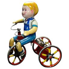 Tin Kiddie Tricyclist Wind-up Toy - Near Mint