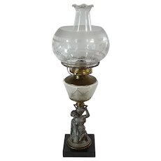 Early Kerosene Lamp with Woman Holding Urn - 1880's