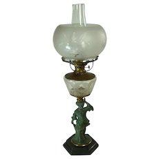 Figural Kerosene Lamp with Boy Leaning on Tree Stump - 1880's