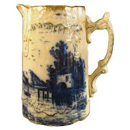 Flow Blue Pitcher with Nautical Scene