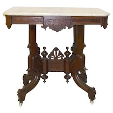 Solid Walnut Victorian Marble Top Center Table - c.1880's
