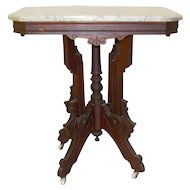 Victorian White Marble Top Table - c.1880's