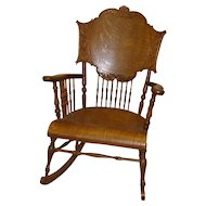 Carved Quartersawn Oak Rocking Chair with Spindles - 1910