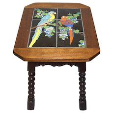 Arts & Crafts Walnut Table with Catalina Art Tile Inlay - c.1920