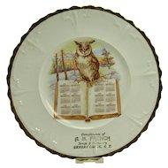 Porcelain Calendar Plate with Owl on Book - 1912