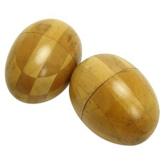 Pair of Parquetry Sewing Eggs - early 1900's