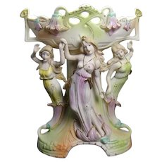 Art Nouveau Bisque Centerpiece with Three Maidens - Occupied Japan