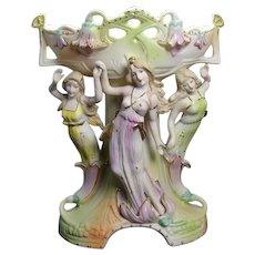 Art Nouveau Bisque Centerpiece with Three Maidens - Occupied Japan