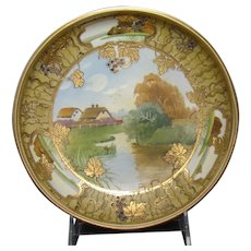 Hand Painted Nippon Footed Bowl with Jewels and Raised Gold Enameling