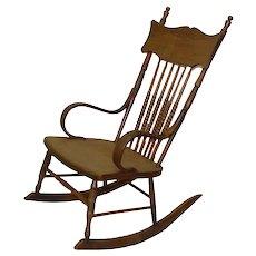 Solid Chestnut Spindle-Back Rocking Chair - 1910