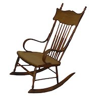 Solid Chestnut Spindle-Back Rocking Chair - 1910