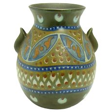 Signed Gouda Art Pottery Vase with Two Handles