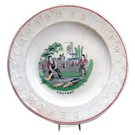 Ceramic ABC Plate with Cricket Players - 1870's