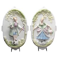 Bisque Occupied Japan Wall Plaques with Colonial Figures