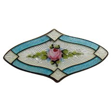 Sterling and Enamel Pin with Center Rose - Unusual Shape -1920's