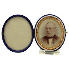 Miniature Portrait on Milk Glass with Velvet Frame - 1860's
