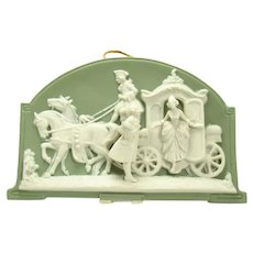 German Jasperware Plaque - Coachman and Courting Couple