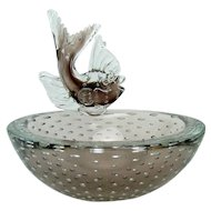 Murano Glass Bowl with Applied Fish and Bubbles