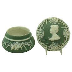 Green and White Jasperware Pin Tray
