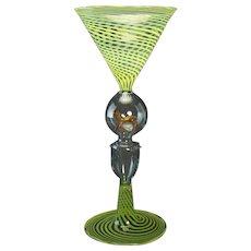 Green Spiraled Bimini Glass with Applied Deer Center - 1920's