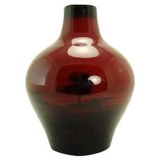 Royal Doulton Flambe Scenic Porcelain Vase in High Glaze