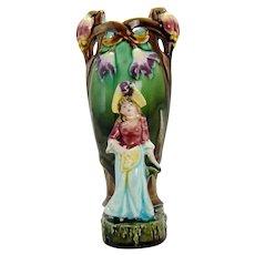 Austrian Majolica Porcelain Vase with Girl Figure - 1890's