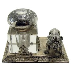 Silver Plated Ink Well with Bull Dog - 1880's