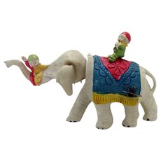 Pre-war Celluloid Elephant with Riders Wind-up Toy - Near Mint