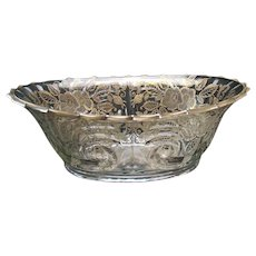 Cambridge Glass Bowl with Sterling Overlay - 1920's