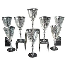 Cambridge Rosepoint Glass Stemware - Set of Eight (8)