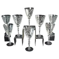Cambridge Rosepoint Glass Stemware - Set of Eight (8)