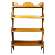 Solid Oak Victorian Shelving Unit with Incised Floral Pattern - 1890's