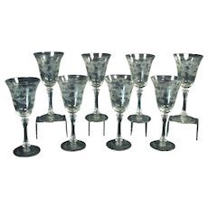 Cut Glass Stemware Set of Eight (8) - 1930's