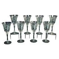 Cut Glass Stemware Set of Eight (8) - 1930's