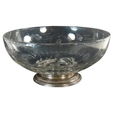 Large Hand Cut Glass Bowl with Sterling Base - 1910