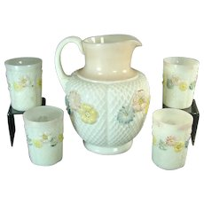Consolidated Glass Cosmos Water Pitcher and Four Glasses - 1920's