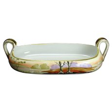 Hand Painted Nippon Porcelain Two-Handled Bowl with Lake Scene