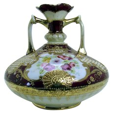 Hand Painted Nippon Porcelain Two-Handled Vase with Roses and Gold Bead-work