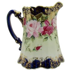 Hand Painted Nippon Porcelain Cobalt Blue Milk Pitcher with Roses