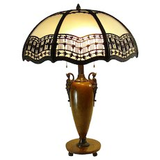 Signed Bradley and Hubbard Table Lamp with Satin Glass Bent Panel Shade - 1920's