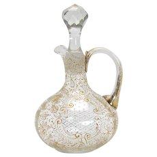 Enamel and Gold Art Glass Cruet with Cut Glass Stopper - 1890's