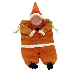 Santa Claus Christmas Candy Container - Felt, Celluloid, Chenille