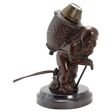 Bronzed Electric Cigar Lighter - Old Peddler - Rare, 1920's