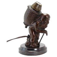 Bronzed Electric Cigar Lighter - Old Peddler - Rare, 1920's