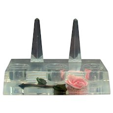 Retro Lucite Vanity Ring and Lipstick Holder