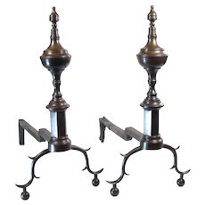 Early Federal Andirons with Finials on Paneled Plinths - 1800's