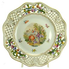 Dresden Porcelain Enameled and Reticulated Hand-Painted Plate - 1870's
