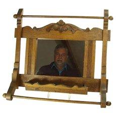 Chestnut Mirrored Brush and Towel Holder - 1880's